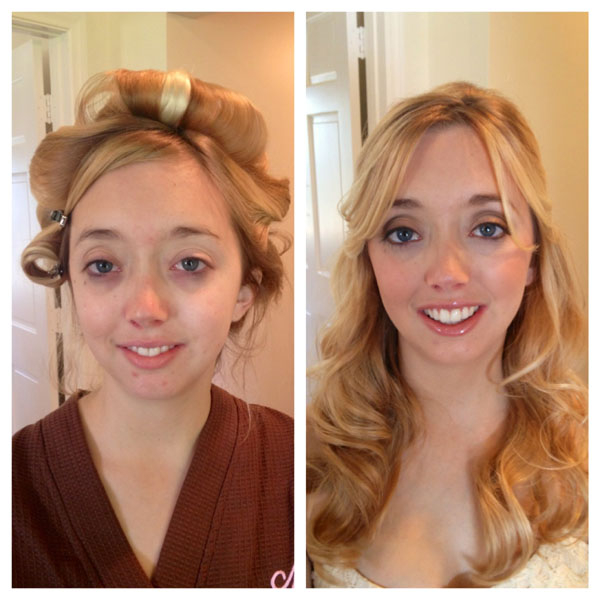 Before and After Hair and Makeup Bridal Trial