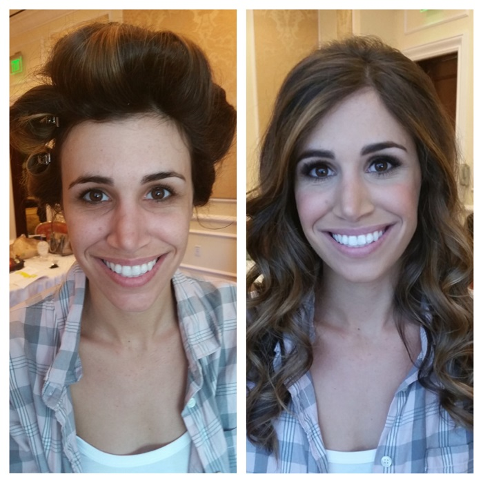 Brunette Before After Makeup and Hair