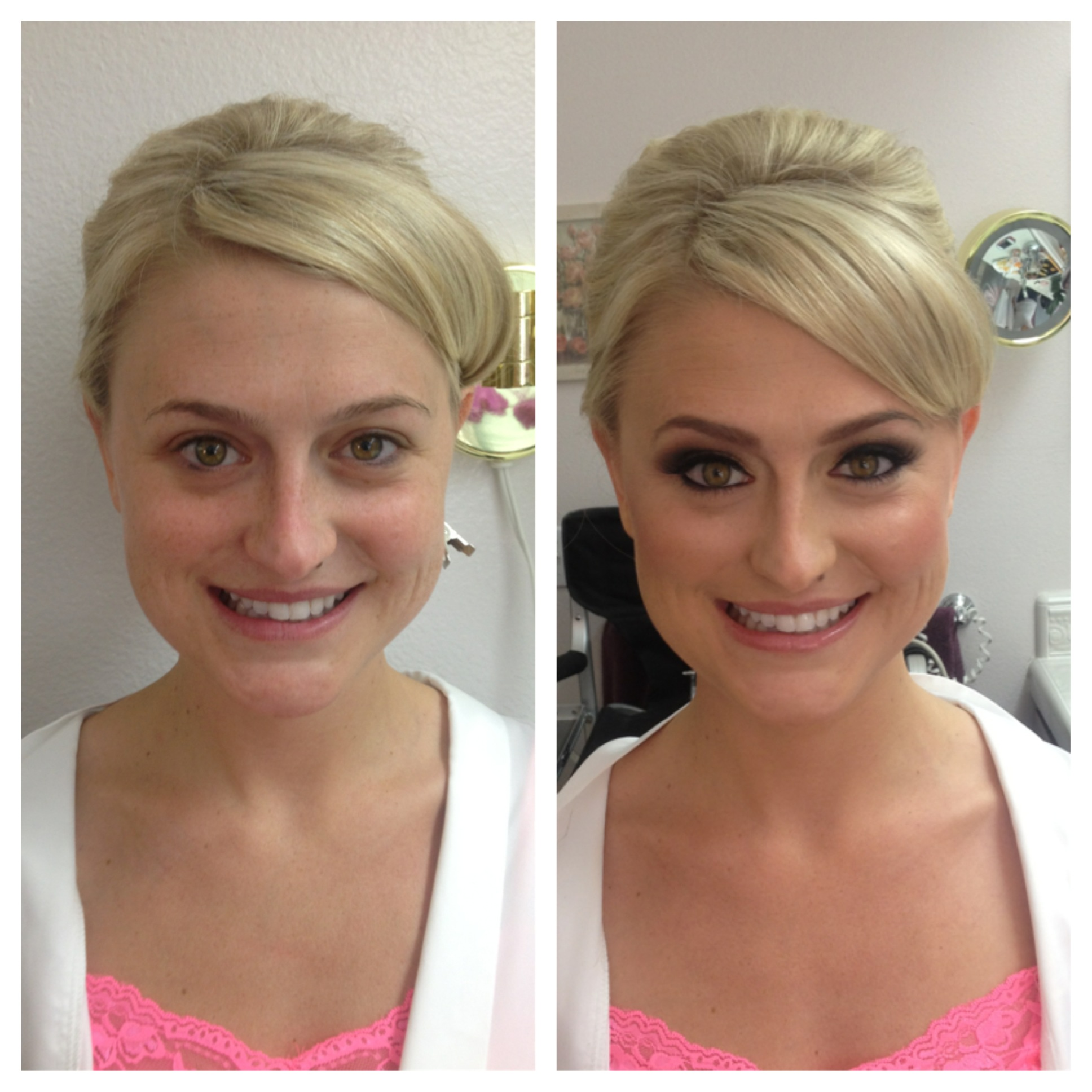 before and after hair and makeup blonde 2