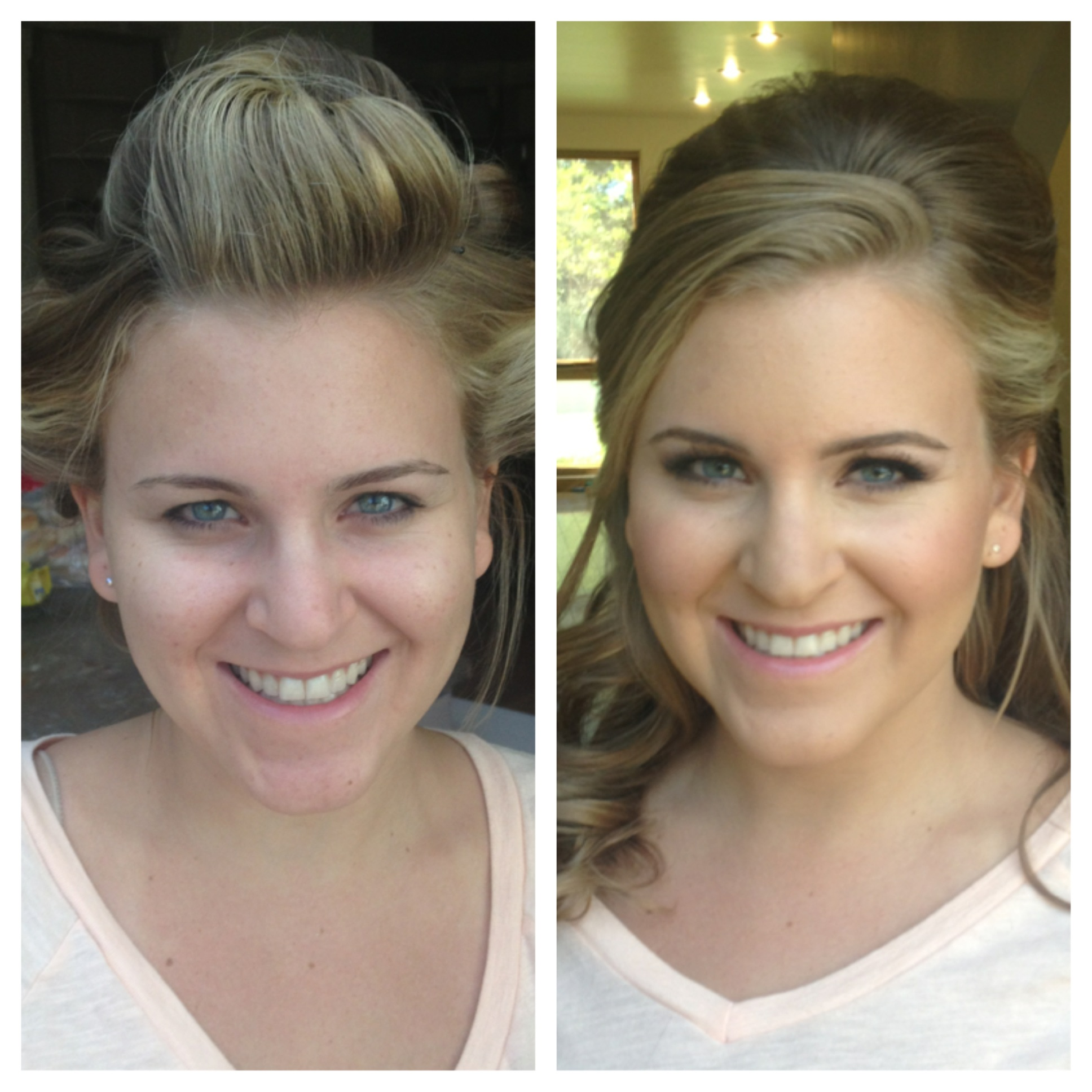 before and after hair and makeup blonde