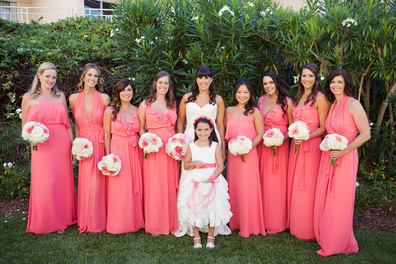 Bride White Dress With Bridesmaids Pink Dresses