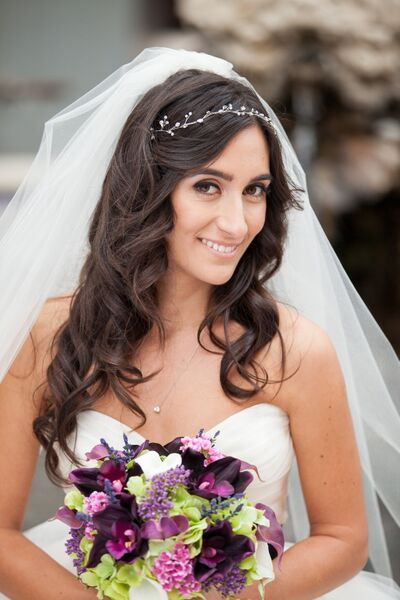 Brunette Bridal Hair and Makeup With Flowers