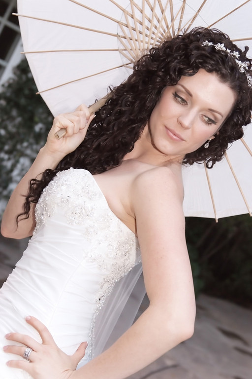 Curly Haired Bride With Makeup